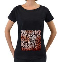 Tiger Motif Animal Women s Loose Fit T Shirt (black)