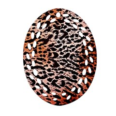 Tiger Motif Animal Oval Filigree Ornament (two Sides)