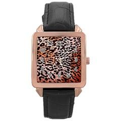 Tiger Motif Animal Rose Gold Leather Watch