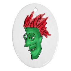 Crazy Man Drawing  Ornament (oval)