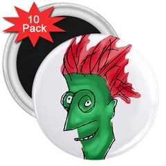 Crazy Man Drawing  3  Magnets (10 Pack)