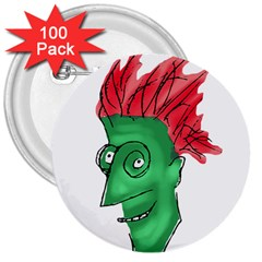 Crazy Man Drawing  3  Buttons (100 Pack)