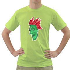Crazy Man Drawing  Green T Shirt