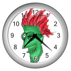 Crazy Man Drawing  Wall Clocks (silver)