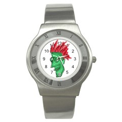 Crazy Man Drawing  Stainless Steel Watch