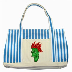 Crazy Man Drawing  Striped Blue Tote Bag