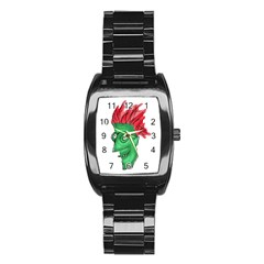 Crazy Man Drawing  Stainless Steel Barrel Watch