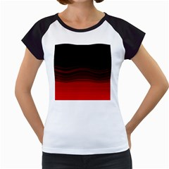 Abstract Of Red Horizontal Lines Women s Cap Sleeve T