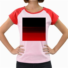 Abstract Of Red Horizontal Lines Women s Cap Sleeve T Shirt