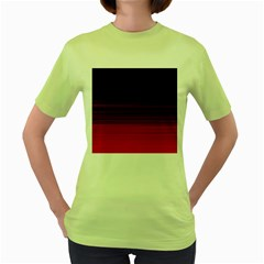 Abstract Of Red Horizontal Lines Women s Green T Shirt