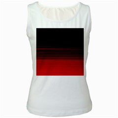 Abstract Of Red Horizontal Lines Women s White Tank Top
