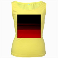 Abstract Of Red Horizontal Lines Women s Yellow Tank Top
