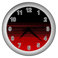 Abstract Of Red Horizontal Lines Wall Clocks (silver)