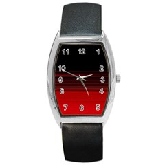Abstract Of Red Horizontal Lines Barrel Style Metal Watch