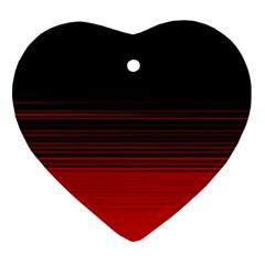 Abstract Of Red Horizontal Lines Heart Ornament (two Sides)