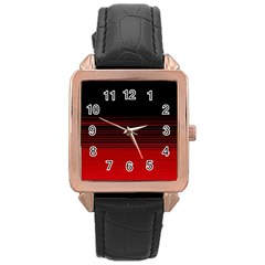 Abstract Of Red Horizontal Lines Rose Gold Leather Watch