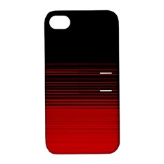Abstract Of Red Horizontal Lines Apple Iphone 4/4s Hardshell Case With Stand