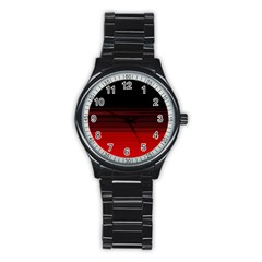 Abstract Of Red Horizontal Lines Stainless Steel Round Watch