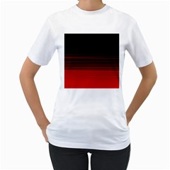 Abstract Of Red Horizontal Lines Women s T Shirt (white)