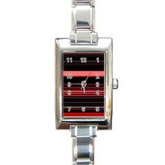 Abstract Of Red Horizontal Lines Rectangle Italian Charm Watch