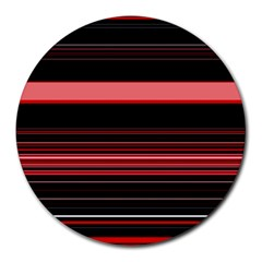 Abstract Of Red Horizontal Lines Round Mousepads