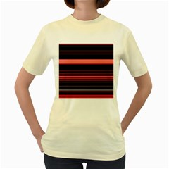 Abstract Of Red Horizontal Lines Women s Yellow T-Shirt