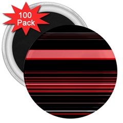 Abstract Of Red Horizontal Lines 3  Magnets (100 Pack)