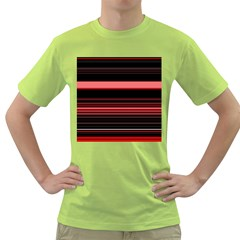Abstract Of Red Horizontal Lines Green T Shirt