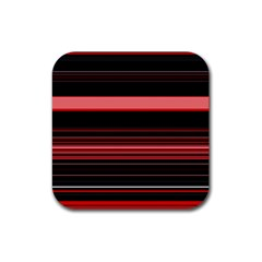 Abstract Of Red Horizontal Lines Rubber Square Coaster (4 Pack)