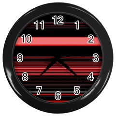 Abstract Of Red Horizontal Lines Wall Clocks (black)