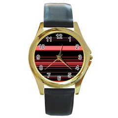 Abstract Of Red Horizontal Lines Round Gold Metal Watch