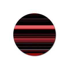 Abstract Of Red Horizontal Lines Rubber Coaster (round)
