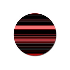 Abstract Of Red Horizontal Lines Magnet 3  (round)