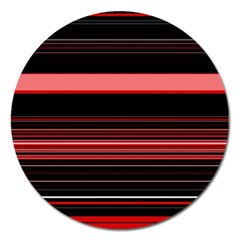 Abstract Of Red Horizontal Lines Magnet 5  (Round)