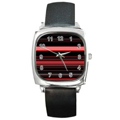 Abstract Of Red Horizontal Lines Square Metal Watch