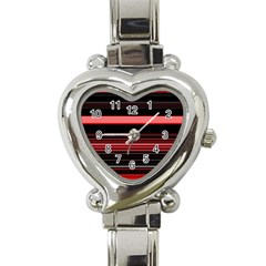 Abstract Of Red Horizontal Lines Heart Italian Charm Watch