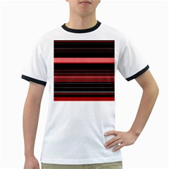 Abstract Of Red Horizontal Lines Ringer T Shirts