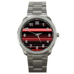 Abstract Of Red Horizontal Lines Sport Metal Watch