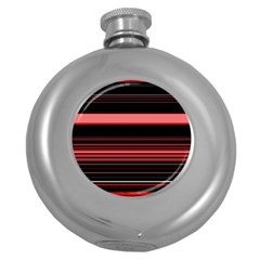 Abstract Of Red Horizontal Lines Round Hip Flask (5 Oz)