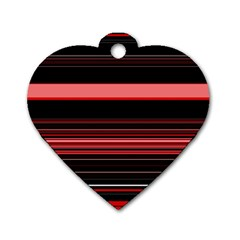 Abstract Of Red Horizontal Lines Dog Tag Heart (one Side)