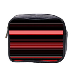 Abstract Of Red Horizontal Lines Mini Toiletries Bag 2 Side