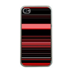 Abstract Of Red Horizontal Lines Apple Iphone 4 Case (clear)
