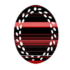 Abstract Of Red Horizontal Lines Oval Filigree Ornament (two Sides)