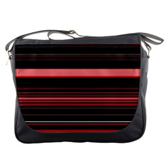 Abstract Of Red Horizontal Lines Messenger Bags