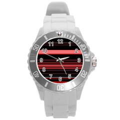 Abstract Of Red Horizontal Lines Round Plastic Sport Watch (l)