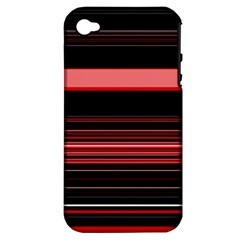 Abstract Of Red Horizontal Lines Apple Iphone 4/4s Hardshell Case (pc+silicone)