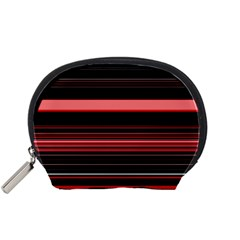Abstract Of Red Horizontal Lines Accessory Pouches (small)