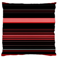 Abstract Of Red Horizontal Lines Large Flano Cushion Case (two Sides)