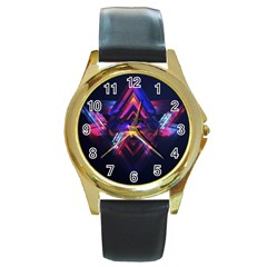 Abstract Desktop Backgrounds Round Gold Metal Watch