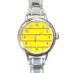 Background Image Horizontal Lines And Stripes Seamless Tileable Magenta Yellow Round Italian Charm Watch